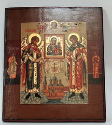 Archangels holding icon depicting Mother of Tikhvin, above the Tikhvin Assumpion Cathedral - Russia - second half 19th century