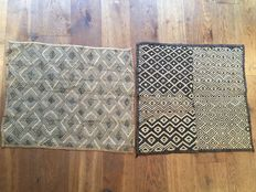 Lot with 2 magnificent traditional ancient trade textiles - SHOOWA / KUBA - D.R of Congo