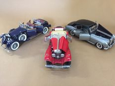 Franklin Mint - Scale 1/24 - Lot with 3 models: 2 x Mercedes-Benz K 1926 & Rolls-Royce Cloud I 1955