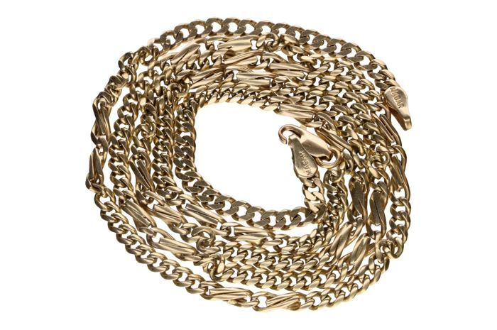 14 kt yellow gold Figaro link necklace – Length: 67 cm