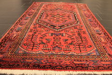 Old high quality handwoven Persian carpet Hamadan Bidjar Malayer made in Iran around 1950 plant colours 132 x 210 cm