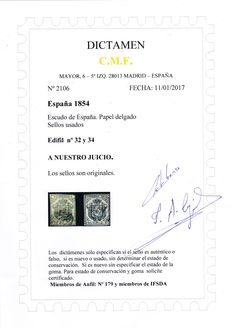 Spain 1854 – Spain coat of arms, 2 quarters in green colour and 1 real in blue colour, with judgment – Edifil catalogue: 32 and 34.