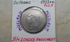 Belgium - 20 Francs 1933 A French - Miscraft 3/4 no edge inscription