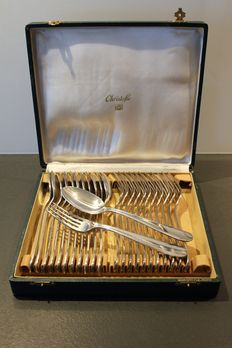 Christofle - 24 piece silver plated cutlery set - Rare Model - 20th century - In its original case.