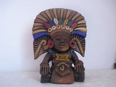 "Clay statue of ""Centeotl"" the god of maize, Aztec/Mayan - Mexico - 20th century"