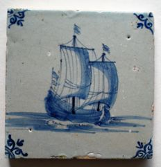 antique tile with sailing boat (rare)