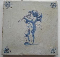 Antique tile with Angel playing the flute!         (Special scene)