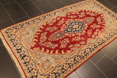 Beautiful quasie antique vintage hand-woven Persian oriental carpet, Kirman Lawer 120 x 240 cm, made in Iran around 1960