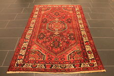 Old high quality handwoven Persian carpet Hamadan Bidjar Malayer made in Iran around 1950 plant colourd 135 x 205 cm