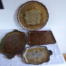 Four Venetian trays, second half of the 20th century, Italy