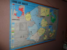 "Old school map/school poster on linen ""Land of water"" reclamation of the polders, years and many other details."