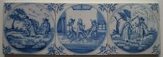 Lot of 3 antique tiles with biblical scene