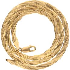 14 kt yellow gold braided necklace, length:  41.6 cm