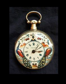 Pocket watch by Bovet -Duplex - gold-plated and fully decorated clockwork for the Chinese market around 1830 with a hand-painted dial ***