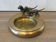 Rare early red copper pin tray with 2 dachshund dogs