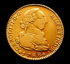 Spain – Carlos III – 2 Escudos Doubloon 1788 Madrid M – Gold.