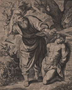 Andries Jacobsz. Stock (1580 - 1648)  - The sacrifice of Abraham designed by Peter Paul Rubens ( 1577 - 1640) - A print published by Hendrik Hondius in 1614