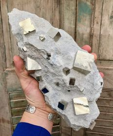 Large piece of matrix with huge Pyrite monocrystals - 30 x 13,5 x 7 cm - 3.4 kg