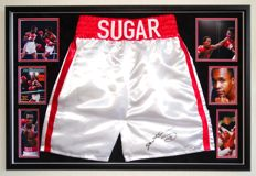 """""""Sugar"""" Ray Leonard original autographed boxing trunks -Premium Framed + Certificate of Authenticity from PSA"""