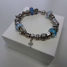 Full long Pandora bracelet with 23 charms and gift box