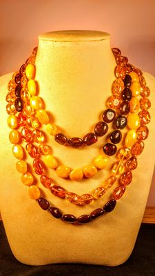 Genuine Baltic amber multi colour necklace, 116 gr