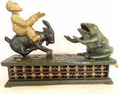 Hubley moneybox- cast iron - Goat rider with frog - England 1906