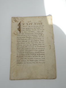 "Manuscript; Document op perkament ondertekend ""Petrus Antonius Brunalescus"" en ""Joannis Dominicus Bithunii"" - Italie - 1559"