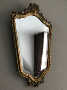Beautiful gold plated crest mirror, France, 1970s