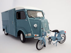 Solido / Norev - Scale 1/18 - Lot with 2 models: Citroën Type HY 1969 van and Motobecane AV88 1976 motorcycle