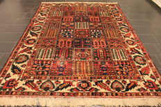 Old Persian carpet fields Bachtiari 220 x 300 cm, natural colours, made in Iran around 1930/40