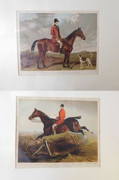 Lot: Two British prints, knight with horse. Colour lithograph, Vincent Brooks