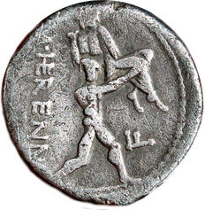 Roman Republic - M. HERENNIUS. Denarius (108-107 BC). Rome mint. One of the Catanaean brothers, Amphinomous or Anapias