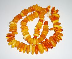 Natural Baltic amber necklace, egg yolk colour, 73 grams