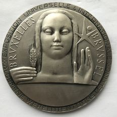 Marcel Rau (1886-1966) - Commemorative coin in silver-plated bronze: World expo Brussels 1958