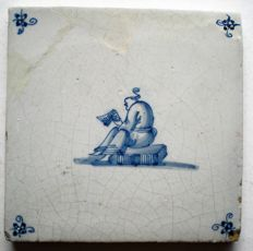 Antique tile with Chinese man (Rare)