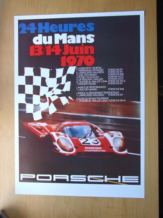 Beautiful poster of the winning Porsche 917 K at the 24 hours of Le Mans in 1970