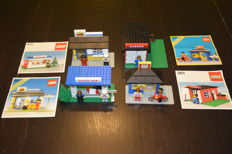 Classic Town - 6689 + 361 + 6683 + 675 - Post Station + Garage + Hamburger stand x2