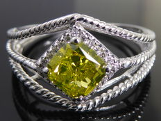 Diamond ring with fancy olive green cushion diamond, & 25 diamonds total  1.25 ct