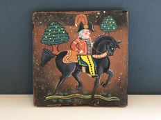 Earthenware tile with Napoleon painting