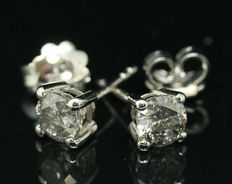 Classic 18K Diamond stud earrings with Certificate, 1.42 ct. - NO RESERVE