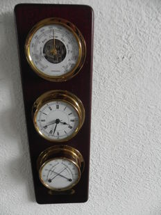 Clock, barometer and brass hydrometer