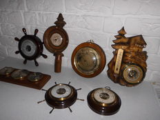 Very beautiful lot of seven barometers/thermometers from various countries, nice items!