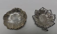 Set of two silver trays Spain. 20th century