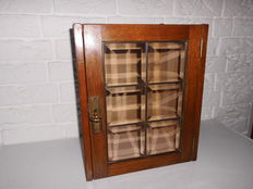 Nice medicine/smokers or drink cabinet with cut stained glass door, beautiful appearance!