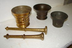 Three mortars, one copper, two bronze and two pistils, 19th/20th century