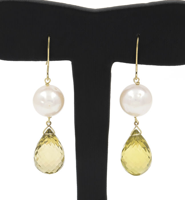 18 kt yellow gold - Earrings - Faceted citrine - Freshwater pearls - Earring height 49 mm