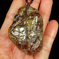 Partly Polished Mexican golden Amber - Intact pendant -  53x37x23mm -  23.1 gram