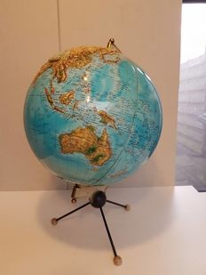 1960s globe with relief onlay