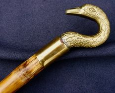 Bamboo Cane with brass Swan-shaped pommel, ca. 1950-60