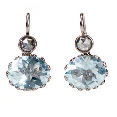 Aquamarine, Diamond, Gold Earrings